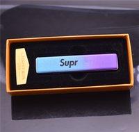 metal isqueiro usb venda por atacado-Recarregável de metal USB Isqueiro Cigarros Eletrônicos Isqueiro À Prova de Vento Mais Leve fumar mais leve moda