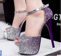 ingrosso tacchi sexy della piattaforma della piattaforma-nuovo stile Super-tacco alto sexy scarpe da donna discoteca di colore sfumato piattaforma impermeabile sandali fishmouth color partito danza di grandi dimensioni