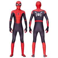 traje de látex de cuerpo completo al por mayor-2019 Uniformes de Halloween superhéroe Spider-Man del traje delgado del partido de Cosplay Medias Ropa de impresión en 3D Spandex Juegos Spidey Cosplay