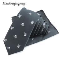 Wholesale chest towel resale online - Business Handkerchief Neckties Polyester Tie Set Skull Pocket Square Corbatas Hombre Pajarita Chest Towel