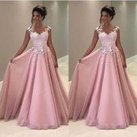 Wholesale button back evening dress for sale - Group buy 2020 Vintage A Line Pink Prom Dresses Lace Applique Cap Sleeve Sheer Back Evening Dresses Formal Party Gowns Cheap Long Dresses