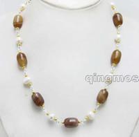 ingrosso barili marroni-Naturale Big 12 * 16mm Forma a forma di Brown Bostwana a strisce Agate e 9-10mm White Pearl 21 '' Collana-nec6449 Spedizione gratuita