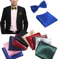 Wholesale men ties handkerchiefs for sale - Group buy Fashion Style Mens Gravata Bow Tie Hanky Bowties for Mens Business Wedding Party Men Pocket Squares Handkerchief