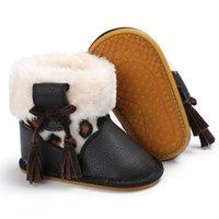 ingrosso scarpe da neve antiscivolo-Baby Winter New Warm neonato Baby High-top in pelle Sneaker Bambino scarpe antiscivolo Soft Soled Lace up Snow Boots
