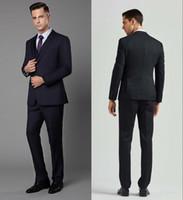 en iyi erkekler resmi takım elbiseleri toptan satış-2019 Yeni Erkek Blazer Takım Elbise Üç Adet Notch Yaka Düğün Smokin Takım Elbise Resmi Giyim İyi Erkek Damat Erkek Suits