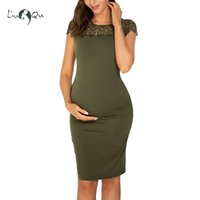 Wholesale maternity evening clothes resale online - Maternity Lace Summer Dresses Short Sleeve Crew Neck Sundress for Pregnant Pregnant Evening Dress Maternity Clothes Mama
