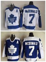 topo da folha de bordo venda por atacado-Qualidade superior Toronto Maple Leafs Jersey Vintage # 7 Lanny McDonald Jerseys Camisas Costuradas Mens Lanny McDonald Hóquei Jerseys UM PATCH
