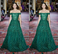 elie saab vestido verde corto al por mayor-Elie Saab 2020 Couture Fashion Plus Size Off Shoulder Green Prom Dresses Manga corta Sweep Train Formal Ocasión Prom Party vestido