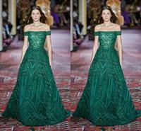 elie saab vestido verde curto venda por atacado-Elie Saab 2020 Couture Moda Plus Size Fora Do Ombro Verde Vestidos de Baile de Manga Curta Trem Da Varredura Formal Ocasião Prom Party Dress