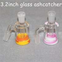 Wholesale 18mm male reclaim catcher resale online - 3 inch Glass Ash Catcher Adapter With Male mm mm Joint Glass Reclaim Ash catcher handmake ash catcher with ml Silicone Container