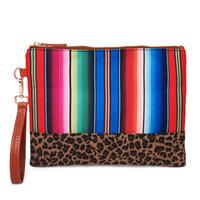 Wholesale leopard print pillow cases for sale - Group buy DOMIL Leopard Rainbow Stripes Case Women Wristle Aztec Purse Canvas Clutch Accessories organizer Canvas Clutch Bag DOM1168
