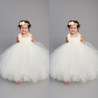 Wholesale baby girls handmade tutu dress resale online - 2019 Vintage Ivory Flower Girls Dresses Handmade Baby Infant Toddler Baptism Clothes With Tutu Ball Gowns Birthday Party Dress Tailor