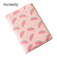 девушки паспорт владельца оптовых-Mcneely Fruit Watermelon Pink Passport Cover PU Leather Women  Holder Girls Passport Holder Document bag No Zipper