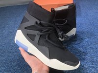zapatos de baloncesto botas para correr al por mayor-2019 Auténtico Air Fear of God 1 Botas Light Bone Grey Negro Zoom 1S Zapatillas de baloncesto para hombre AR4237-001 AR4237-002 Zapatillas de running