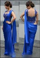 moda vestido real china venda por atacado-Moda Azul Royal Chiffon Rendas Ver Apesar de Vestidos de Baile 2018 Bainha Até O Chão Vestidos de Noite Vestido de Noite Para As Mulheres Vestido Árabe Da China