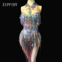 gece kulübü leotardları toptan satış-Renkli Saçaklar Rhinestones Bodysuit Kadınlar Sahne Dans Kostüm Gece Kulübü Dans Kadın Şarkıcı Gösterisi Parlak Leotard J190620