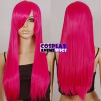 Wholesale straight pink cosplay wig online - 70cm Hot Rose Pink Heat Styleable Long Cosplay Wigs