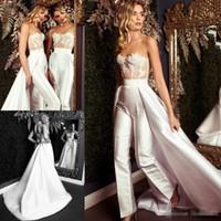 Wholesale vestidos de fiesta for sale - Fashion Overskirt Jumpsuit Prom Dresses Strapless Neck Beaded Evening Gowns Sweep Tran vestidos de fiesta Satin Appliqued Formal Dress