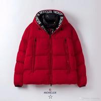rojos parka de invierno para hombre al por mayor-2019 Lobo real para hombre de piel diseño de la chaqueta del invierno ganso chaqueta de bombardero Parka Down abrigos chaqueta caliente Abrigo Jaqueta Rojo Negro Label