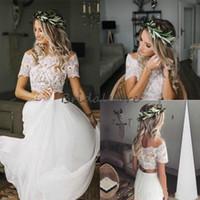 Wholesale bateau neckline tops for sale - Group buy 2019 New Country Two Piece Wedding Dresses Boho Crop Top Lace Bateau Neckline Chiffon Short Sleeve Button Back Cheap Bridal Gown