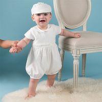 roupas de bebê menina vintage venda por atacado-Recém-nascidos 0-24 M Meninas Vestido Sólido Vestido de Festa Turn-Down Collor Botão Voltar Batismo vestido Batismo Do Vintage Vestido de Bebê Outfits Chapéu de Renda Branca