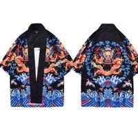çince moda giyim toptan satış-Mr.1991INC Kimono Hırka Erkekler Geleneksel Japon Kimono Gömlek Japonya Yaz Moda Giyim Baskılı Çin Ejderha