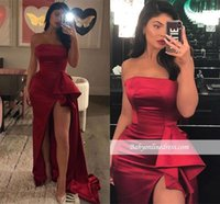 Wholesale evening dresses online - Sexy Hi lo Mermaid Prom Dress Strapless High Side Slit Sheath Evening Gown Formal Party Red Carpet Dress BC2011