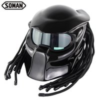 Wholesale laser fiber for sale - Group buy High quality SOMAN957 domineering warrior motorcycle helmet personality Harley braid riding full helmet with laser light