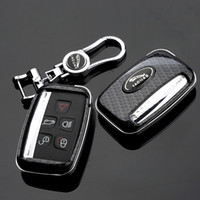 jaguar araba anahtarları toptan satış-Jaguar XE XF XJ F-PACE Karbon Elyaf Stil Car Metal KeyChain ile Uzaktan Anahtar Shell Fob Kılıf Kapak