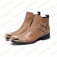 Wholesale real italian leather resale online - Man Cowboy Ankle Boots Big Size Italian Man Shoes Real Leather Round Toe Crocodile Pattern Zip Boots