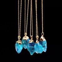 mavi kolye doğal taş toptan satış-Toptan Satış - Bayan JN682 Toptan-Trendy Doğal Taş Kolye Joias Ouro Banhado Ametist Düzensiz Mavi Kristal Kolye Kuvars Kolye