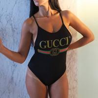 traje de baño de una pieza negro sin espalda al por mayor-Sexy negro mujer traje de baño playa de verano de una sola pieza Bikini moda Backless vendaje chica traje de baño de cintura alta traje de baño