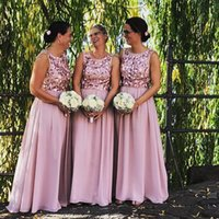 Wholesale flower bridesmaids dresses resale online - 2019 Custom Made Dusty Pink Bridesmaid Dresses Scoop Neck with Handmade Flowers Boho Chiffon Floor Length Maid of Honor Gown BM0240