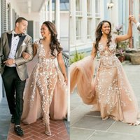 a7cb0b46ff0 Champagne Women Jumpsuits Wedding Dresses With Overskirts Lace Appliques  African Bridal Gowns Pants Suits Plus Size Nigeria Style