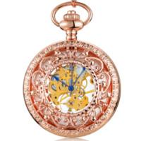 relógio de bolso esqueleto de aço inoxidável venda por atacado-Rose Gold Skeleton Mecânica Pocket Watch Stainless Steel FOB cadeia de luxo Homens Mulheres oco relógios de bolso
