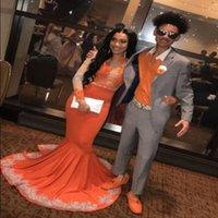 vestidos de laranja para o baile venda por atacado-2019 nova chegada orange prom vestidos mangas compridas do vintage applique lantejoulas sereia evening gowns sul africano partido vestido de festa