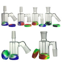 Wholesale bong resale online - New mm mm Glass Ash Catcher Silicone Bong Water Pipes with Inch ml Container Reclaimer Thick Pyrex Ashcatcher for Smoking
