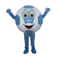 futebol de caráter venda por atacado-Traje da mascote do futebol do dia das bruxas Top Quality dos desenhos animados Mr. Football Anime caráter personagem de natal carnaval trajes do partido