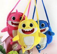 Wholesale birthday packs for sale - Group buy Baby Shark Cartoon Fanny Pack Kids Fuzzy Messenger Bag Cute Shark Doule Layers Zipper Bag Plush Crossbody Bag Coin Purse MMA1725