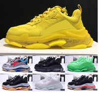 bas casual pour hommes achat en gros de-2019 luxury designer shoes Balanciaga Triple S dad shoes transparent cushion green multi-color men's shoes pink women's casual sports shoes 36-45 with logo