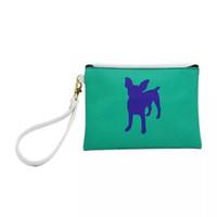 Wholesale wristlet cartoons online - Dog Handbag DHL Animal Print PU Leather Cosmetic Bag Women Clutch Zip Pouch with Wristlet