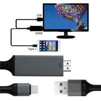 ipad tv hdmi adapter großhandel-4K 1080P 3 in 1 HDTV MHL HDMI Kabel für iPhone iPad Samsung zum Projektor Fernsehapparat 2M HDMI zum Typ-C HDTV Adapterkabel