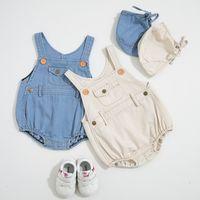 Wholesale baby denim hats resale online - Baby girl Designer Clothes Romper Infant Denim Design Sleeveless Suspender Romper hat cotton Summer clothes