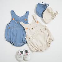 meninas denim suspensórios venda por atacado-Baby girl Designer de Roupas Romper Infantil Denim Projeto Sem Mangas Suspender Romper + chapéu 100% roupas de Verão de algodão