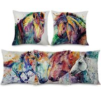 Wholesale art paintings brown for sale - Group buy Galloping Horse Art Cushion Cover X45cm Watercolor Painting Animal Horses Colorful Linen Pillow Case Hotel Sofa Decor