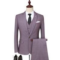 chalecos de manga larga al por mayor-Chaquetas de traje a cuadros de manga larga para hombre de alta calidad con chalecos y pantalones Conjunto de traje de esmoquin para hombre de negocios de gran tamaño 5XL