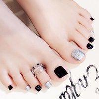 dedos das unhas francesas venda por atacado-HobbyLane 24pcs clássico French Square Nails Nude Natureza Toes unhas falsas Preto prata Falso Toe Simples Sticker com 2g Glue