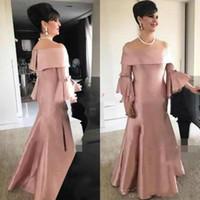 rosa plus größe bräute kleid großhandel-Edler Satin Bateau Neck Poet Plus Size Mutter Formelle Kleidung Dusty Pink Abend Party Hochzeitsgast Kleid Mutter Der Braut Kleid Anzug Kleider