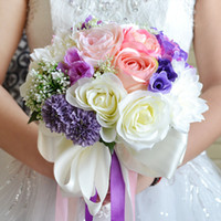 brautjungfer lila broschen großhandel-Silk Blumen Braut Hochzeit Bouquet Hochzeitsdekoration Rosa + Lila Künstliche Blume Brautjungfer Braut Hand Brosche