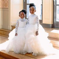 Wholesale lace sashes for wedding dresses for sale - Group buy Princess White Long Sleeve Lace Flower Girl Dresses For Western Weddings High Neck Tier Ruffles Beaded Belt Long Kids Toddler Communion Gown